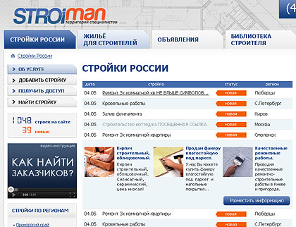 Building-work catalogue of Moscow, Saint-Petersburg and other regions